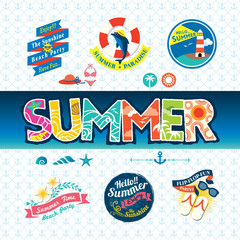 Summer design element label badge icon set