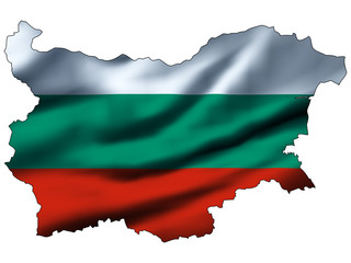 Illustration with waving flag inside map - Bulgaria