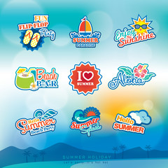 Summer label sticker badge icon set