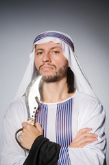 Arab man with sharp knife