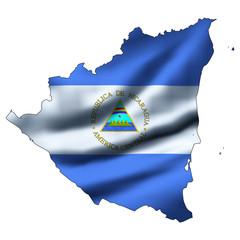 Waving flag inside map - Nicaragua