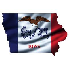 Illustration with waving flag inside map - Iowa