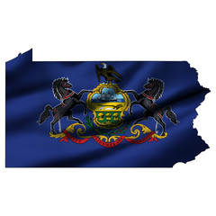 Illustration with waving flag inside map - Pennsylvania
