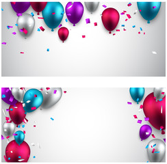 Celebrate banners with balloons.
