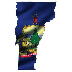 Illustration with waving flag inside map - Vermont