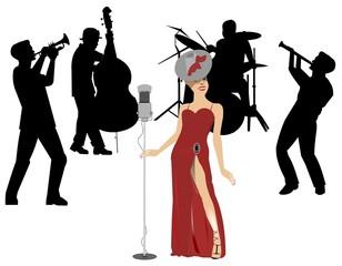 female blues singer with backup band