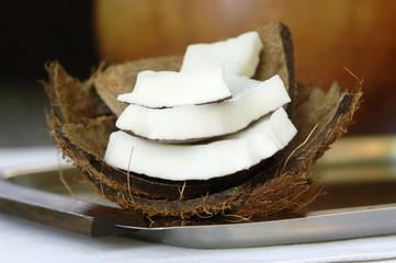Frische Kokosnuss Scheiben