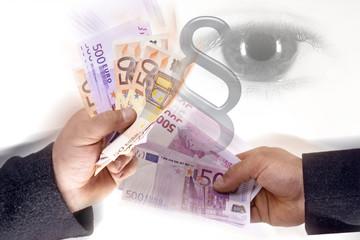 Zwei Männer, mit Euro-Schein, Auge in Auge, Korruption
