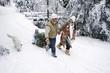 Österreich, Salzburger Land, Familie mit Hund und Weihnachtsbaum auf Schlitten