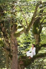 Junge Frau meditiert auf einem Ast im Baum
