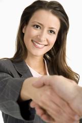 Frau die Hand schütteln
