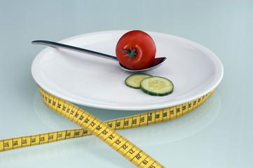 Tomaten und Gurken, Scheiben auf dem Teller mit Maßband