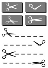 set coupon, scissors and dotted line