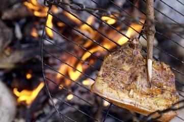 Fleisch auf dem Grill, am Lagerfeuer
