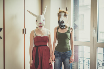 mask rabbit and horse mask lesbian couple