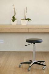 Regal mit zwei Blumentöpfen und Stuhl
