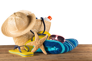 Close-up of summer accessories.