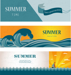 Three banners of summer time and seasonal sale