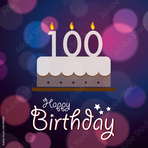 Happy 100th Birthday - Bokeh Vector Background with cake