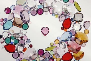 Farbiges Glas, Steine, Draufsicht