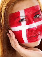 girl with danish flag face painting