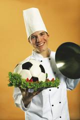 Küchenchef Koch Fußball in der Platte