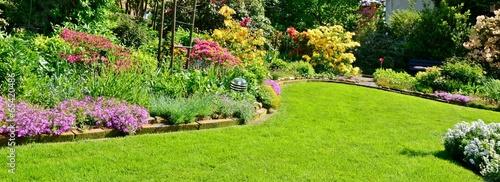 Fotobehang Tuin blooming garden in sunlight
