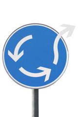 Verkehrszeichen, Kreisverkehr, Pfeile brechen aus