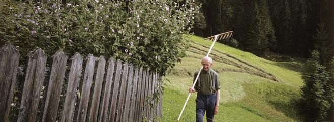 Senior, Mann im Garten mit Rechen über der Schulter