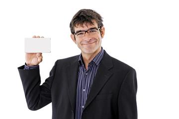 Mann halten Palmtop, Portrait