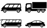 Fototapety vehicle, bus, truck and car transport set