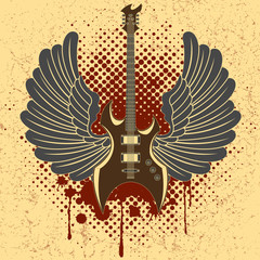 Sticker on the shirt the image of a guitar of wings