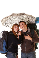 Couple on the backpacking vacations.