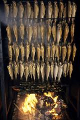 Geräucherte Forellen auf Feuer