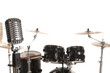 Microphone in front of Bass Drum Kit