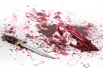 Crime scene with a knife and lots of blood