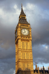 Big Ben in London with clouds background