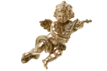Goldene Putto spielen Geige, close up