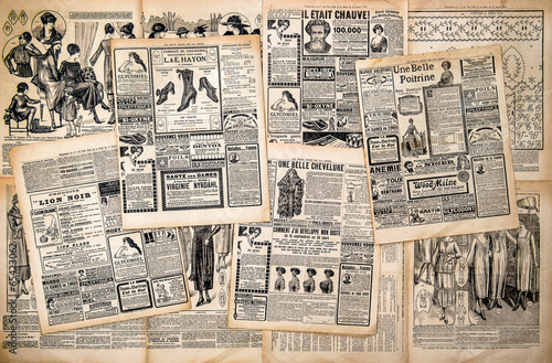 Poster Newspaper pages with antique advertising