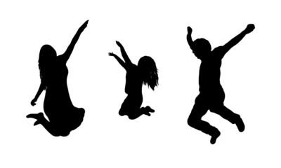 Jumping family silhouette isolated on white