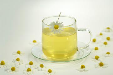 Kamillentee in Glas Tee Tasse