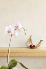 Obstteller mit Apfel auf dem Regal und Orchidee