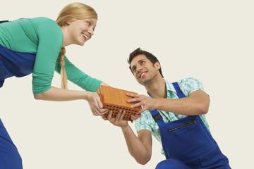 Mann und Frau in Blaumann Weitergabe Ziegel, lächeln
