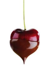 Kirsche, Herzform, in Schokolade getaucht