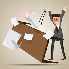 cartoon angry businessman flipping table