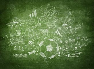 Blackboard soccer concept