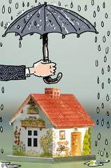 Hand hält Regenschirm über Haus, Schützen, Trocken