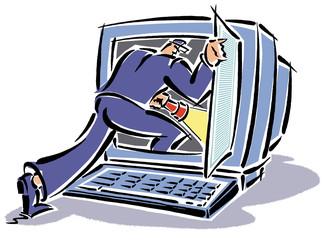 Einbruch in Computer Bildschirm