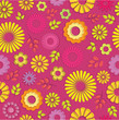 Pink Seamless floral background with summer flowers and leaves