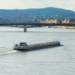 cargo ship at the Danube, central Europe, Budapest, Hungary
